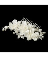 Elegant Bridal Hair Comb Silver Ivory Floral Hair Comb Pearl and Rhinestone - $35.64