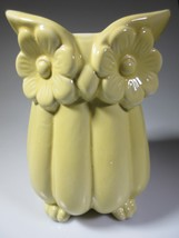 Vintage Owl Vase Jar Figural Yellow Handcrafted Ceramic Pottery Unsigned... - $29.00