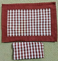 Williams Sonoma Red White Checkered Placemats & Napkins Set of 6 Each - $39.99