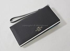 NWT Coach 55295 Tricolor Edgestain Slim Wallet in Black/Green/Blue - $119.00