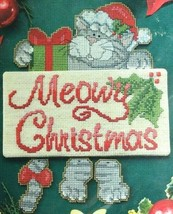 Cat Cross Stitch Kit Meowy Christmas Holiday Danglers Kitty Gray Tabby 6... - $11.64