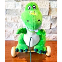"Toy Story T-Rex Dinosaur on Wheels Pull toy 9"" Disney Store Baby Shower ... - $15.83"