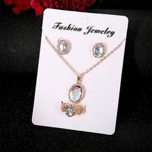 Women Stainless Steel Moonstone Ring+Earrings+Necklace Chain Jewelry US image 3