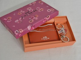 NIB Coach Gift Set Of Card Case and Valet Keyring Red Color Leather Grea... - $99.00