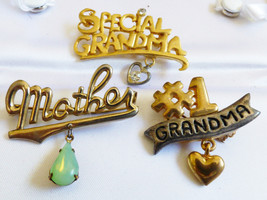 Lot of 3 gold & silver tone #1 Grandma Special Mother Pin Brooch charming - $20.79