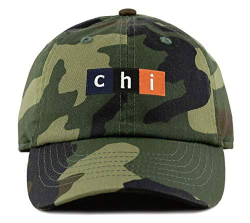 "Chicago Football Hat - Orange/Navy Blue""CHI"" Camo Strapback Cap"