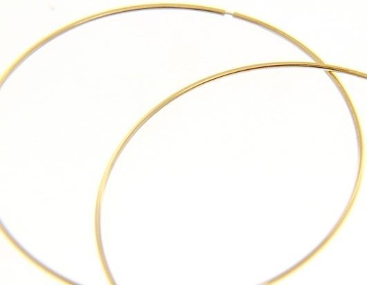 18K YELLOW GOLD ROUND CIRCLE HOOP EARRINGS DIAMETER 60 MM x 1 MM, MADE IN ITALY