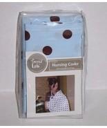 New Baby Breastfeeding NURSING COVER Light Blue Brown Polka Dot Trend La... - $17.39