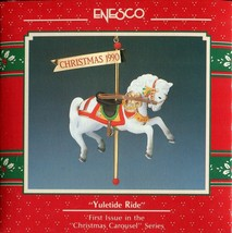 1990 New in Box - Enesco Christmas Ornament - Yuletide Ride - #577502 - $4.00