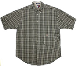 Tommy Hilfiger Men's 100% Cotton Short Sleeve Plaid Shirt With Crest Size L - $21.73