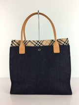 Burberry Blue Label Tote Bag Leather Handle Indigo Color Check Denim Used - $171.99