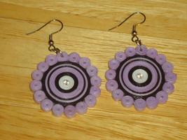 Purple DANGLE EARRINGS Paper Quilling HANDMADE Rhinestone FASHION Limit ... - $4.99