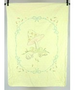Vintage Angel Sleeping Under A Mushroom Embroidered Baby Blanket Cover 3... - $29.69