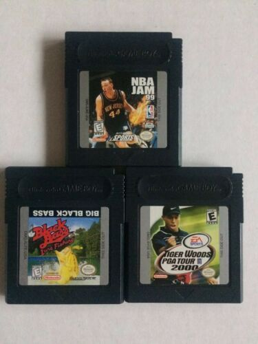 Lot of 3 Sports Nintendo Game Boy Color: Tiger Woods, NBA Jam, Big Black Bass