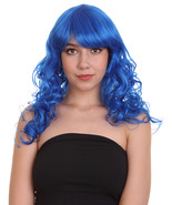 Adult Women Long Curly Glamour Party Event Cosplay Dark Blue Wig HW-636 - $29.85