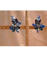 Weiss Shades Of Blue Vintage Clip On Earrings Beautiful Elegant Sparklin... - $25.00