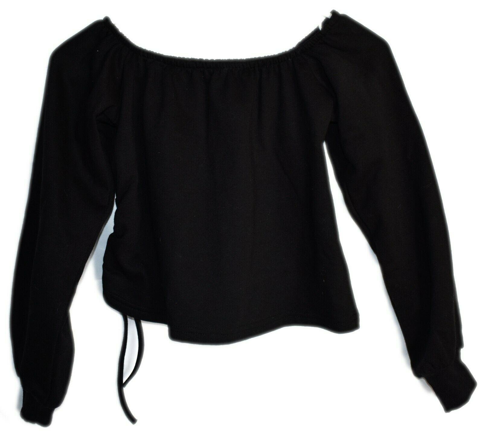 Boohoo Off Shoulder Black Cropped Sweatshirt with Drawstring Side US 4 | UK 8