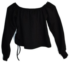 Boohoo Off Shoulder Black Cropped Sweatshirt with Drawstring Side US 4 | UK 8