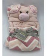 NWT Blankets & Beyond Pink White Hooded Pig Piglet Chevron Baby Blanket - $29.99