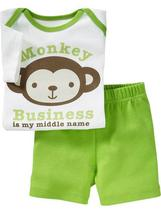 Old Navy Baby Boy Monkey Graphics Tee & Shorts, Size 6-9 Months.NWT - $12.86