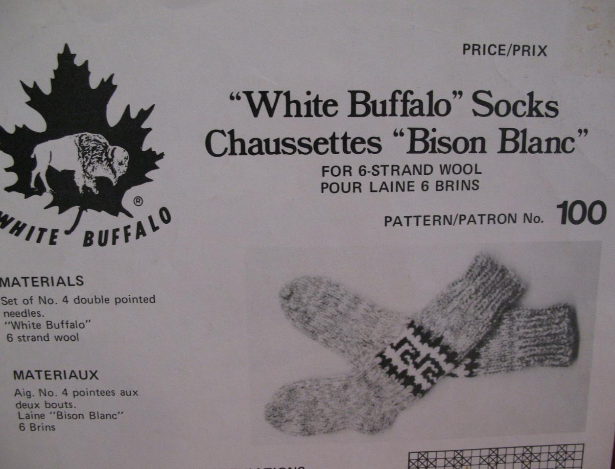 Vintage White Buffalo Socks Stockings Knitting Pattern