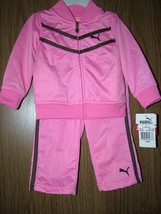 Puma Baby Girls 2 Pc Tracksuit Set, Pink Color. Size 12 Mos. NWT - $22.99