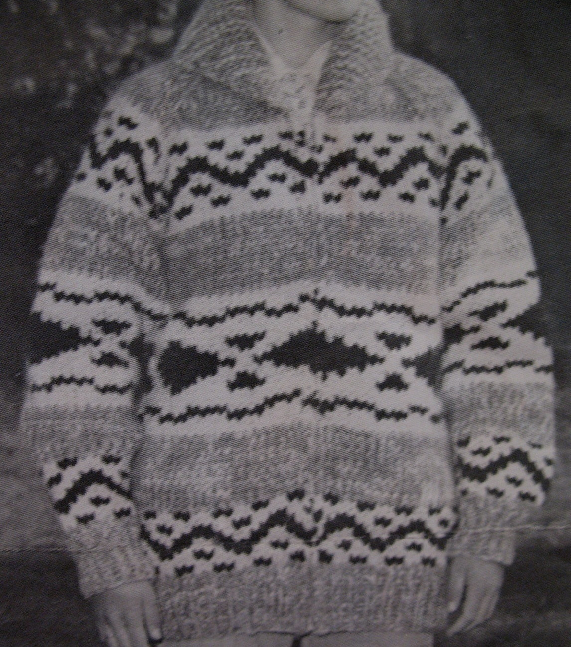 Vintage White Buffalo Canadian Sweater Knitting Pattern