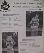 Vintage White Buffalo Canadian Sweater Knitting Pattern SML - $6.99