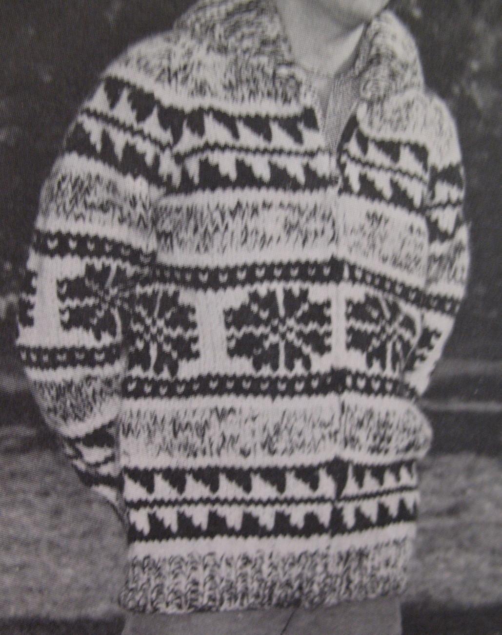 Vintage White Buffalo Canadian Sweater Knitting Pattern SML