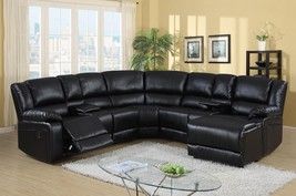 MYCO Furniture Cadence Black Modern  Bonded Leather Sectional Recliner - $2,150.00