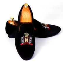 Handmade Men's Black Velvet Slip Ons Loafer Embroidered Shoes image 3