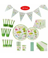 98 PCS Dinosaur Party Supplies & Decorations, Amycute Disposable Tablewa... - $21.51