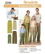Simplicity Sewing Pattern 2290 Child's, Teens' and Adults' Pants, A (XS ... - $13.48