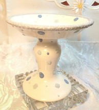 """THE WHITE BARN CANDLE Co. 5"""" WHITE CANDLE HOLDER WITH BLUE DOTS 5""""x5.5"""" image 2"""
