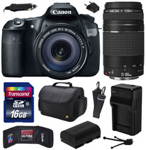Canon EOS 60D SLR Camera with 18-135mm + 75-300mm III Lens (16GB Value B... - $1,173.10