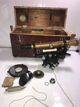 Antique Eugene Dietzgen Transit #1971 Zoom Level , Box, Brass plate, Pl... - $741.99