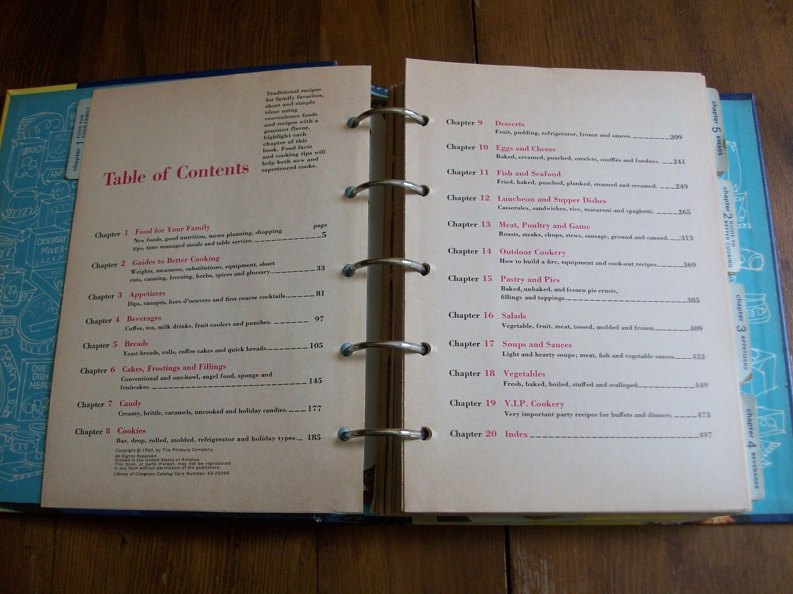 PILLSBURY FAMILY COOK BOOK ~ 1963 ~ FIRST EDITION ~ FIVE-RING HARD COVER BINDER