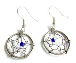 Vintage Dreamcatcher Dangle Earrings Blue Silver - $0.98