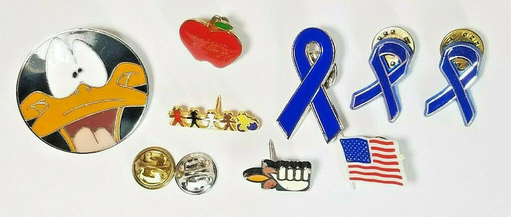 8 Vintage Lapel Pins Daffy Duck Teachers Apple Blue Ribbons And More See Photos