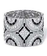 PalmBeach Jewelry Crystal and Pearl Silvertone Art Deco-Style Stretch Br... - $11.89