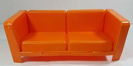Vintage Barbie Couch Orange Sofa 9in Mattel 1973 Mod Loveseat Living Room Den - $9.99