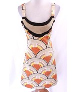 ZARA BEIGE ORANGE YELLOW BROWN GEO OP ART MOD TRENDY SKATER BOHO SUN DRE... - $30.00