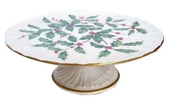 "Lenox China 10 1/2"" Holiday Holly Pattern Pedestal Footed Cake Plate Stand"