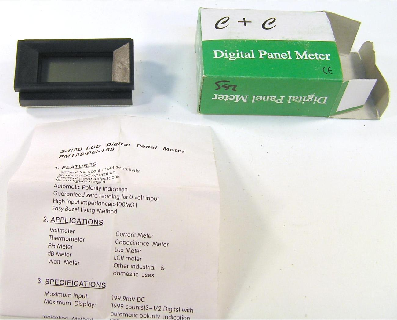 C+C Digital LCD 0-199 mV Panel Meter PM-128 9 VDC