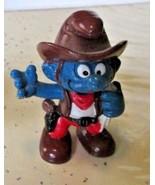 Vintage SMURFS Smurf Cowboy mini PVC Figure toy - $5.99