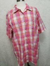 Cabin Creek Women's 20W wrinkle free pink white Plaid Short Sleeve shirt... - $9.85