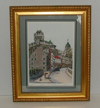 "Framed ""Old World"" Engraving of Côte de la Montagne Quebec City  - $9.99"