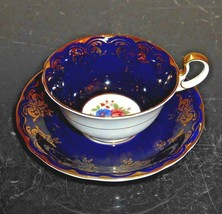 AYNSLEY 5134 VINTAGE SCALLOPED COBALT BLUE ENGLISH TEA CUP & SAUCER - $79.00
