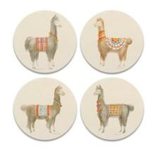 Festive Llamas Coasters New Set of 4 CoasterStone Absorbing Cork Backing  - $24.74