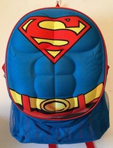 """DC Comics SUPERMAN 16"""" Backpack With Muscled Chest Detailing - Super For... - $24.94"""